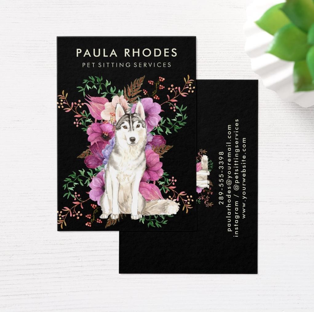 Pet Sitter Dog Walker Floral Watercolor Husky Art Business Card