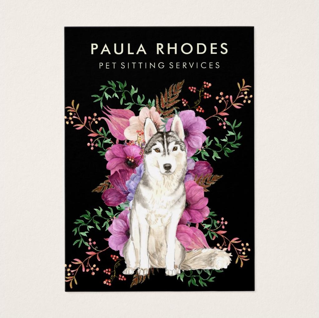 Pet Sitter Dog Walker Floral Watercolor Business Card