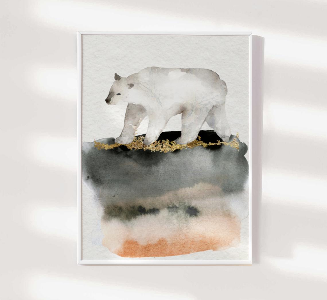 Polar Bear Watercolor Animal Painting Framed Art Print