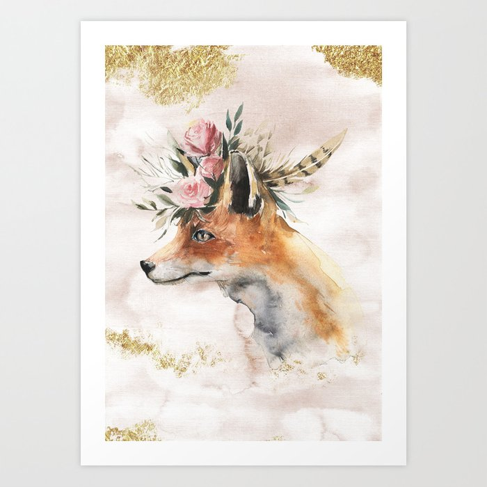 Watercolor Fox With Flowers And Gold Art Print