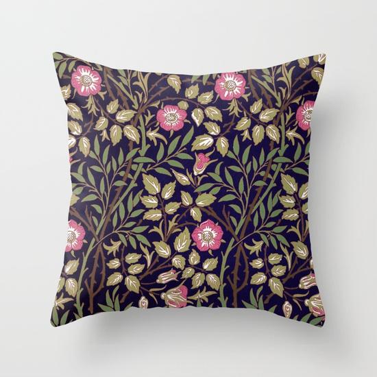 william-morris-sweet-briar-floral-art-nouveau-pillows